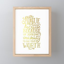 Your Value Quote - Hand Lettering Faux Gold Foil Framed Mini Art Print