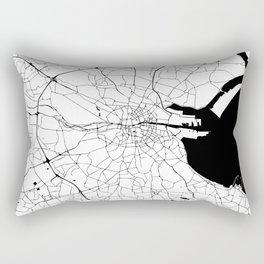 White on Black Dublin Street Map Rectangular Pillow