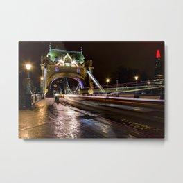 Night shot of traffic light trails on Tower Bridge London Metal Print