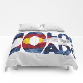 Colorado Typographic Flag Map Art Comforters