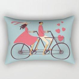 Love Couple riding on the bike Rectangular Pillow