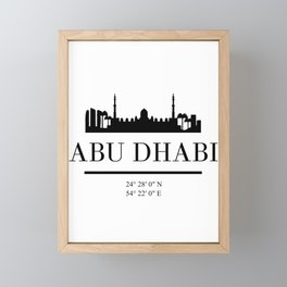 ABU DHABI UAE BLACK SILHOUETTE SKYLINE ART Framed Mini Art Print