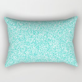 Spacey Melange - White and Turquoise Rectangular Pillow