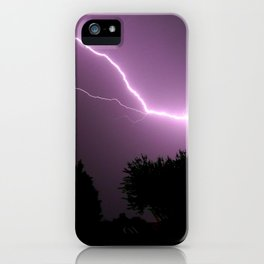 Purple Lightning Night Sky iPhone Case