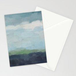 Navy Teal Aqua Sky Blue Green Abstract Wall Art, Painting Art, Nature Horizon, Modern Wall Stationery Cards
