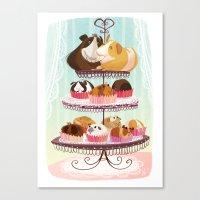 blankets Canvas Prints featuring Petit Pigs sans Blankets by Steph Laberis