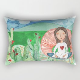 Girl thinking in the dessert about life and afterlife Rectangular Pillow