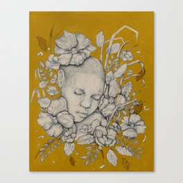 """Guardians"" - Surreal Floral Portrait Illustration Canvas Print"