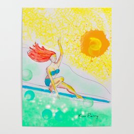 Skye & Sunshine- A Girl and Her Surfboard Poster