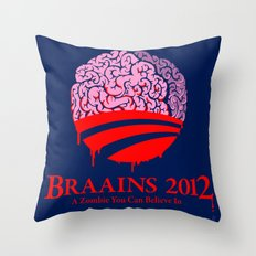 Vote Braains 2012 - A Zombie You Can Believe In Throw Pillow