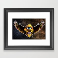 Happy Cycloptic Dog Eagle with a Stache (scratch back) Framed Art Print