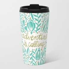 Adventure is Calling – Turquoise & Gold Palette Travel Mug