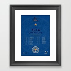 Tribute to Leicester Football Club - 2016 Premier League Champions, BLUE version Framed Art Print