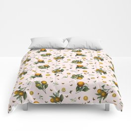Oranges and Butterflies in Blush Comforters