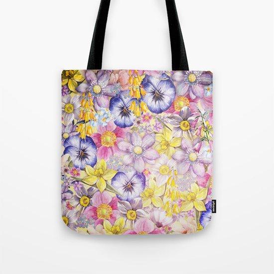 Painterly Vintage Spring Flowers Pattern - Springflower floral #Society6 Tote Bag