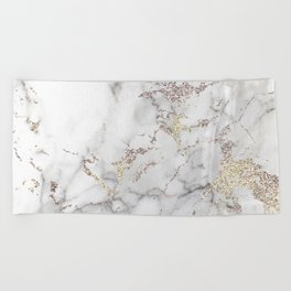 Champagne Rose Gold Blush Metallic Glitter Foil On Gray Marble Beach Towel