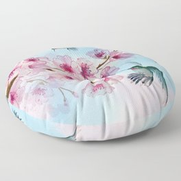 Cherry Blossom and Hummingbirds Floor Pillow