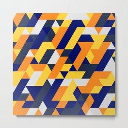 Yellow White And Blue Diamond Abstract Metal Print
