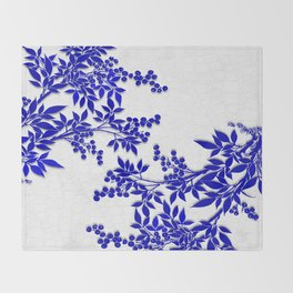 BLUE AND WHITE  TOILE LEAF Throw Blanket