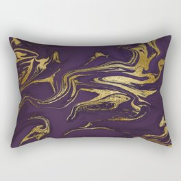 Dark Purple Gold Marble Rectangular Pillow