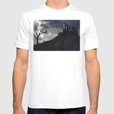 Mystery on the Hill MEDIUM White Mens Fitted Tee
