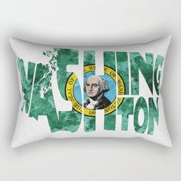 Washington Typographic Flag Map Art Rectangular Pillow