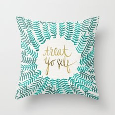 Treat Yo Self – Gold & Turquoise Throw Pillow