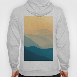 Minimalist Photography Silhouette Mountains Blue Yellow Misty Landscape Hoody