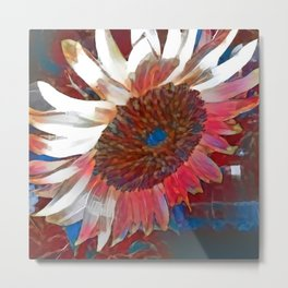 Red and Blue Sunflower Metal Print