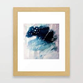 Meteor Shower - an abstract acrylic piece in blue and white Framed Art Print