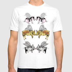 Pigs on the wing White SMALL Mens Fitted Tee
