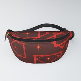 Red diamonds and squares in the intersection with orange stars on a burgundy background. Fanny Pack