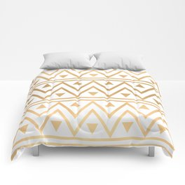 White & Gold Chevron Pattern Comforters