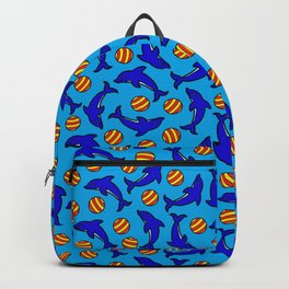 Cute Dolphins on Blue Backpack