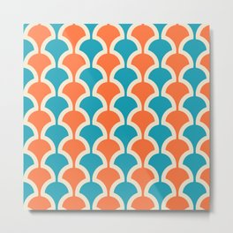 Classic Fan or Scallop Pattern 429 Orange and Turquoise Metal Print