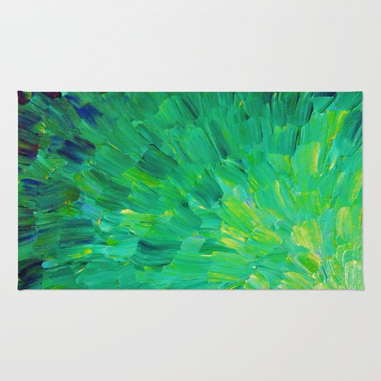 SEA SCALES in GREEN - Bright Green Ocean Waves Beach Mermaid Fins Scales Abstract Acrylic Painting Rug