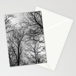 Flying tree branches, black and white Stationery Cards