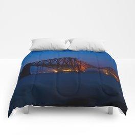 Forth rail bridge at night 2 Comforters