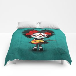 Day of the Dead Girl Playing Spanish Flag Guitar Comforters