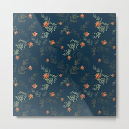 The floral style pattern on a blue background . Metal Print