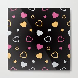 Stylized hearts pattern 3 Metal Print