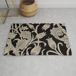 Silver Black Tulip Art Pattern Rug