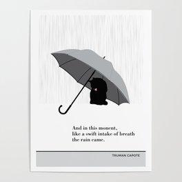 "Truman Capote ""The rain came"" cat literary quote Poster"
