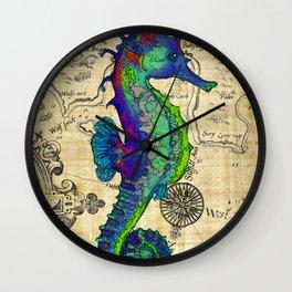 Seahorse Papyrus Map Wall Clock