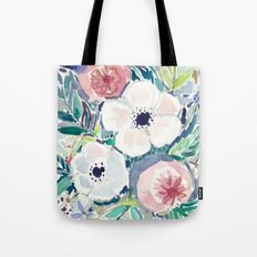 White Anemone Floral Tote Bag