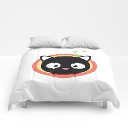 Black Cute Cat With Hearts Comforters