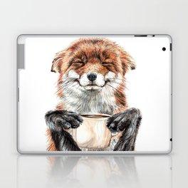 """ Morning fox "" Red fox with her morning coffee Laptop & iPad Skin"