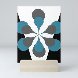 Mid-Century Modern Art 1.4B Grey Aqua Flower Mini Art Print