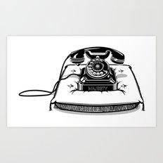 Phone on Cushion. Art Print