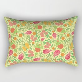 Dragonfruit amoung mango and mandarin on yellow background Rectangular Pillow